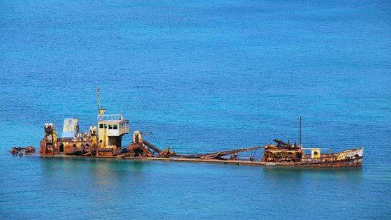 Bild vom Schiffswrack auf Saint Martin