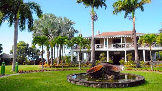Bild vom Brunnen im Botanischen Garten von Nevis