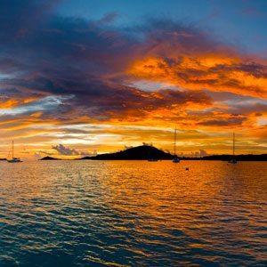 Bild vom Sonnenuntergang in den Tobago Cays