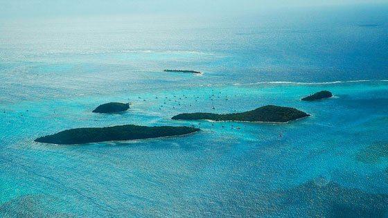 Bild vom Luftblick auf die Tobago Cays