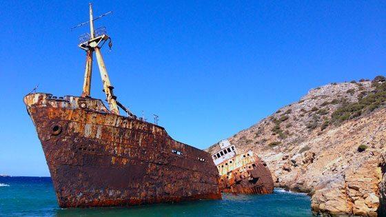 Bild vom Wrack bei Amorgos