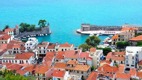 Bild vom Ausblick auf den alten Hafen von Nafpaktos