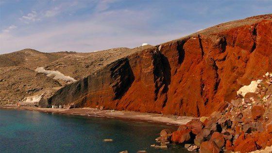 Bild vom Red Beach auf Santorini