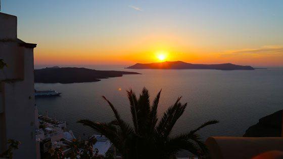 Bild vom Sonnenuntergang von Thira, Santorini